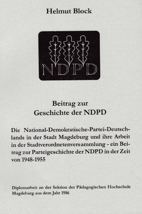 Beitrag zur Geschichte der NDPD